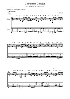 Сюита для виолончели No.1 соль мажор, BWV 1007: Courante. Version for guitar by Иоганн Себастьян Бах