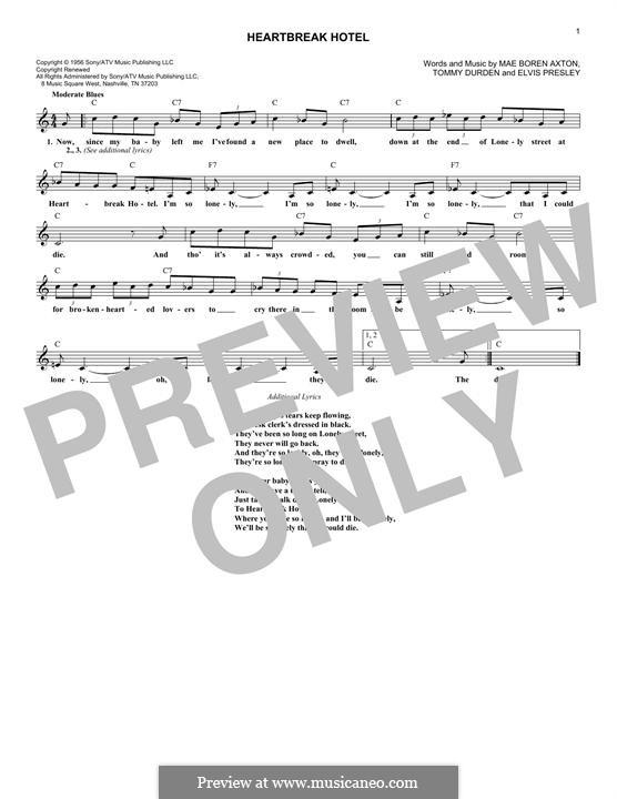 Heartbreak Hotel (Elvis Presley): Мелодия by Mae Boren Axton, Tommy Durden