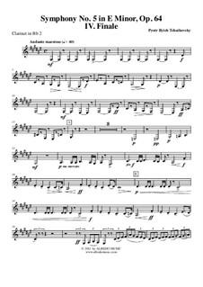 Часть IV: Кларнет in B 2 (транспонированная партия) by Петр Чайковский