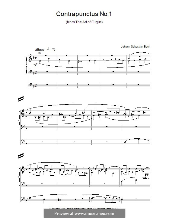 Искусство фуги, BWV 1080: No.1 by Иоганн Себастьян Бах