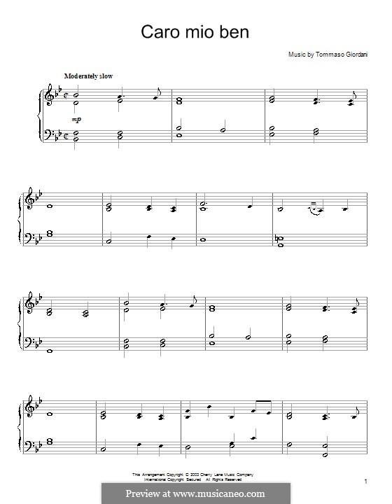 Caro mio ben (O Maiden Dear): Для фортепиано by Томмазо Джордани