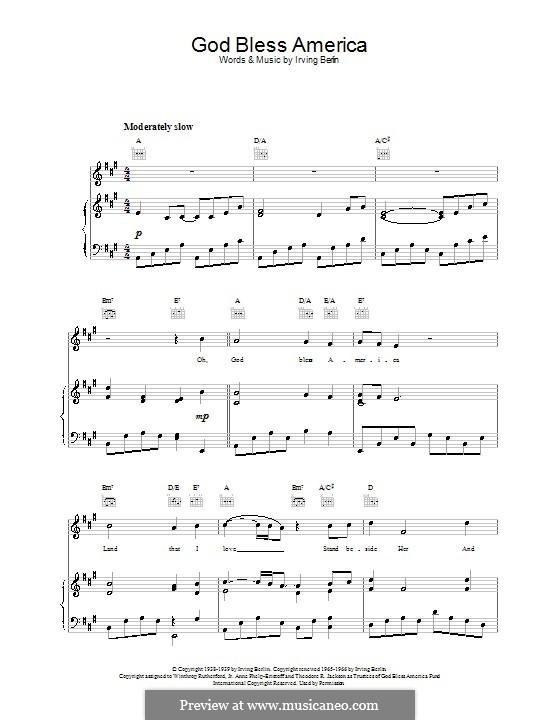 God Bless America: Для голоса и фортепиано или гитары (Ля мажор) by Ирвинг Берлин