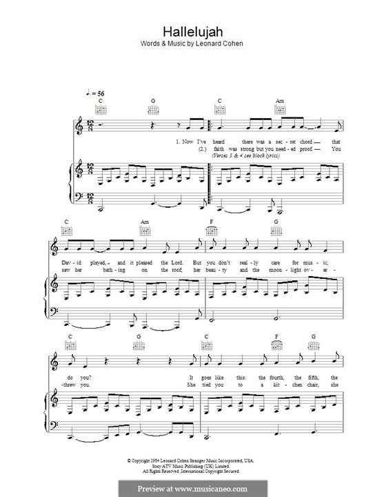 Hallelujah: Для голоса и фортепиано (или гитары) by Leonard Cohen