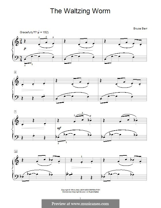 The Waltzing Worm: For piano by Bruce Berr
