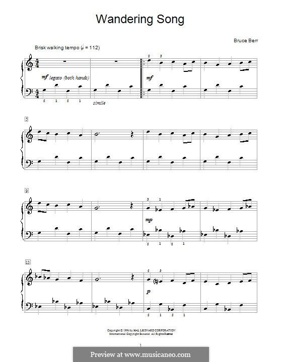 Wandering Song: For piano by Bruce Berr