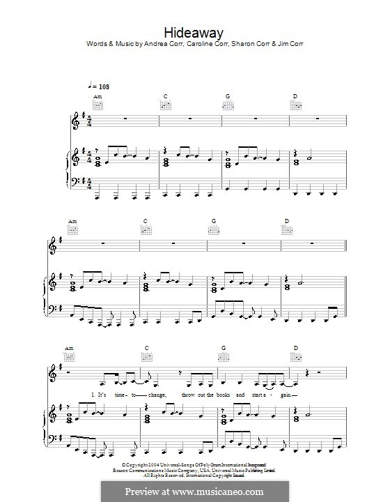 Hideaway (The Corrs): For voice and piano (or guitar) by Andrea Corr, Caroline Corr, Sharon Corr