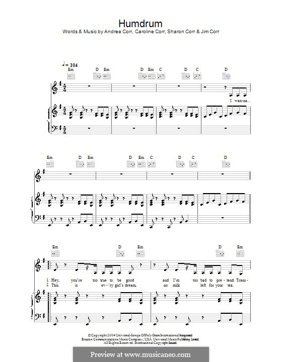 Humdrum (The Corrs): For voice and piano (or guitar) by Andrea Corr, Caroline Corr, Sharon Corr