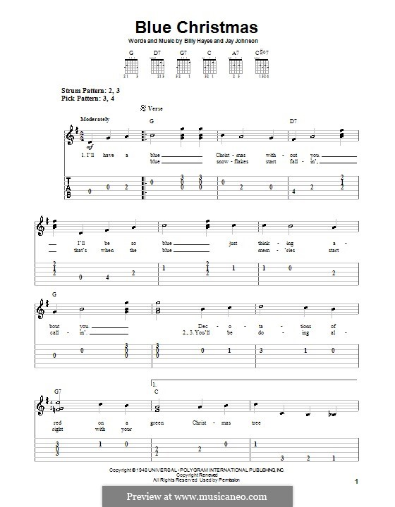 Blue Christmas: For guitar (very easy version) by Billy Hayes, Jay Johnson