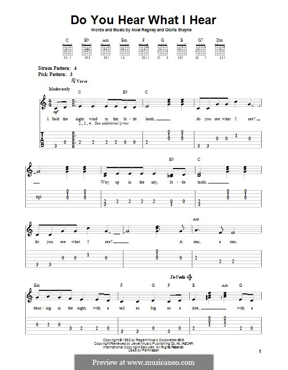 Do You Hear What I Hear: For easy guitar with tabulature by Gloria Shayne, Noël Regney
