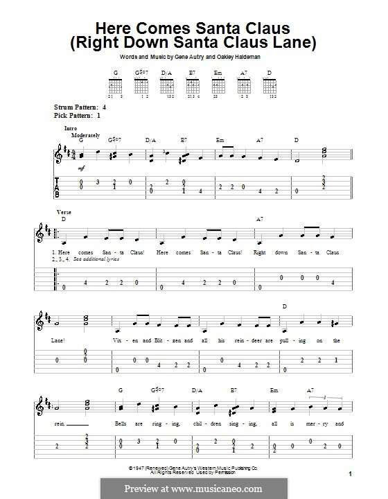 Here Comes Santa Claus (Right Down Santa Claus Lane): For guitar with tab (Elvis Presley) by Gene Autry, Oakley Haldeman