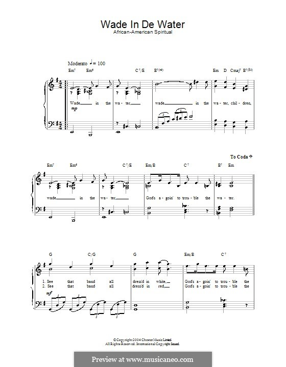Wade in the Water: For voice and piano by folklore