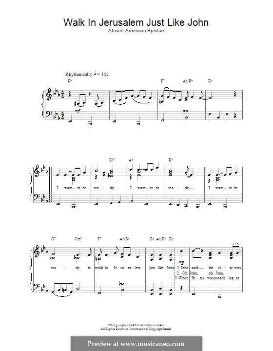 Walk in Jerusalem Just Like John: For voice and piano by folklore