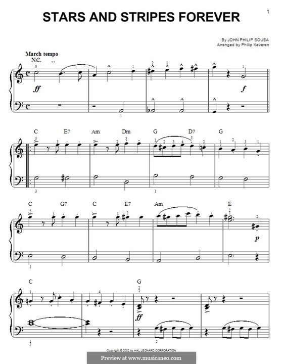 Stars and Stripes Forever : For easy piano by John Philip Sousa