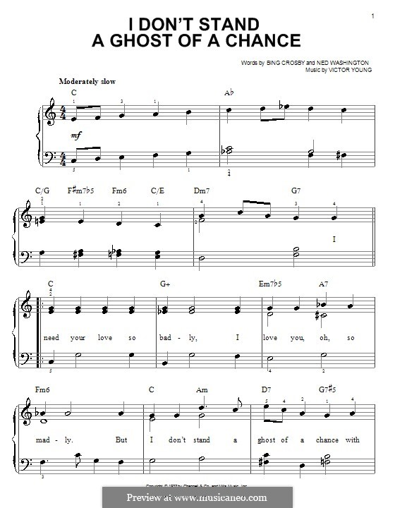 I Don't Stand a Ghost of a Chance: For easy piano by Victor Young