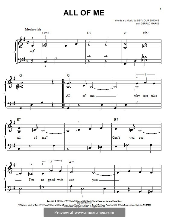 All of Me: For easy piano by Seymour Simons, Gerald Marks