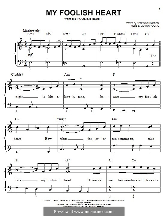 My Foolish Heart: For easy piano by Victor Young