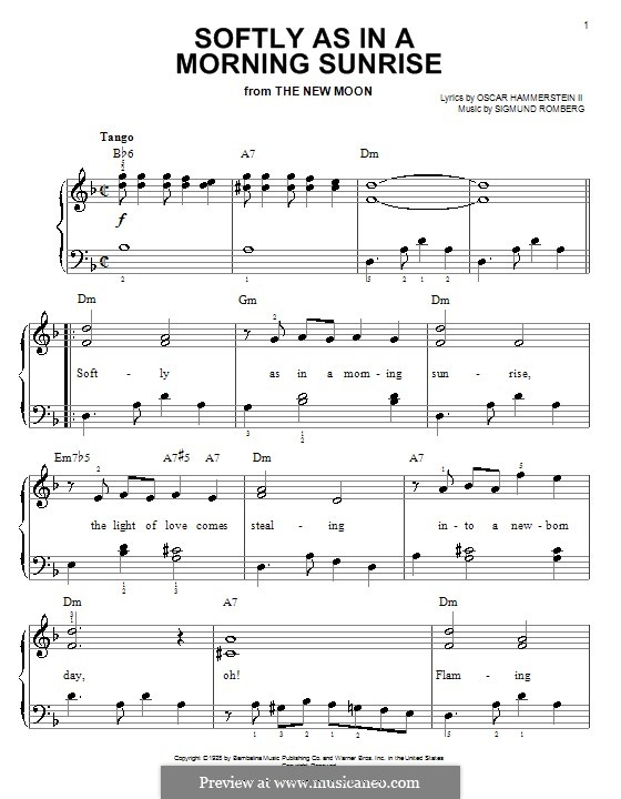 Softly As In A Morning Sunrise By S Romberg Sheet Music On Musicaneo