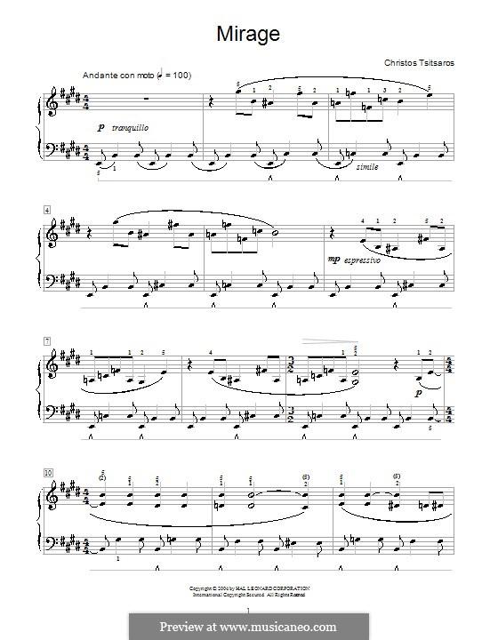 Mirage: For piano by Christos Tsitsaros