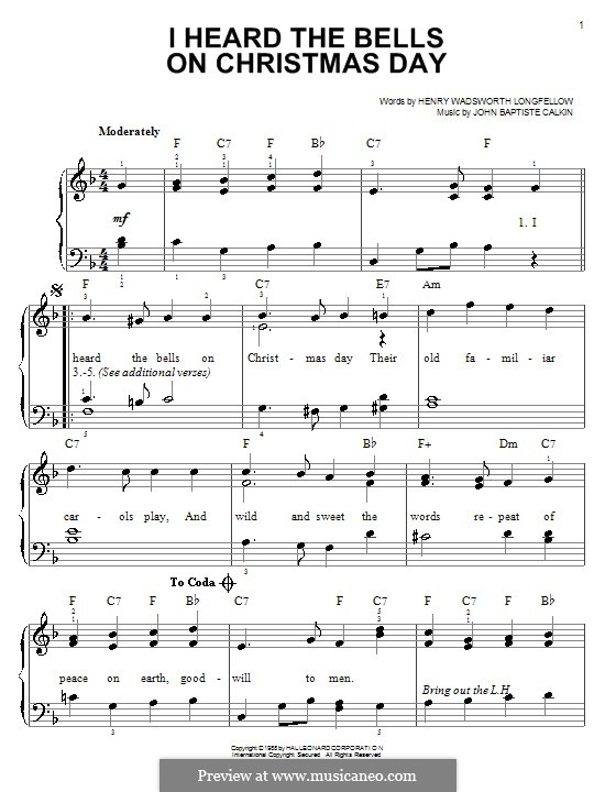 I Heard the Bells on Christmas Day: For piano by John Baptiste Calkin