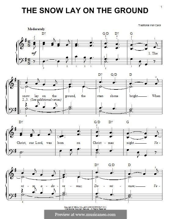 The Snow Lay on the Ground: For easy piano by folklore