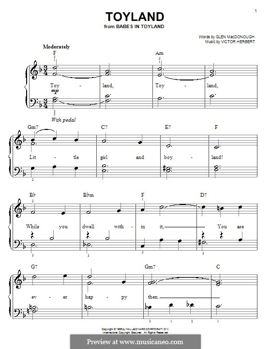 Babes in Toyland: Toyland, for easy piano by Victor Herbert