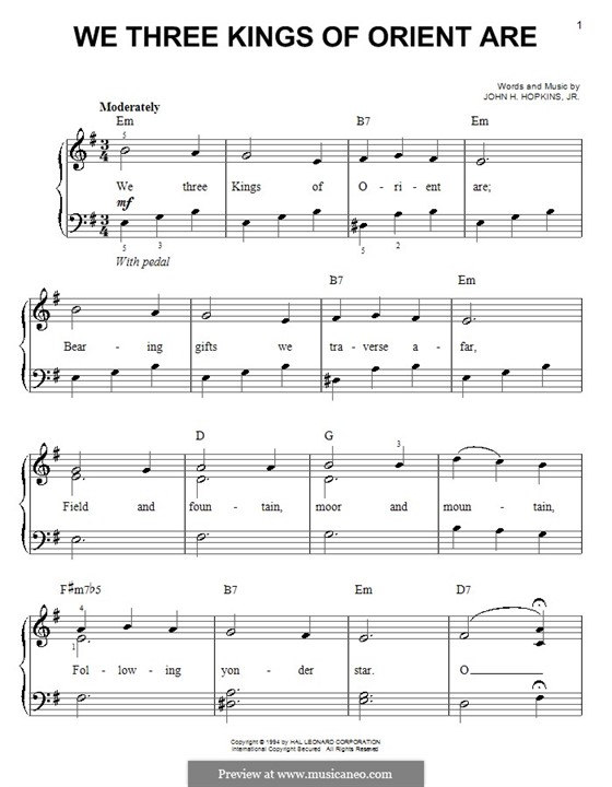 We Three Kings of Orient are, for Piano: Very easy version by John H. Hopkins Jr.