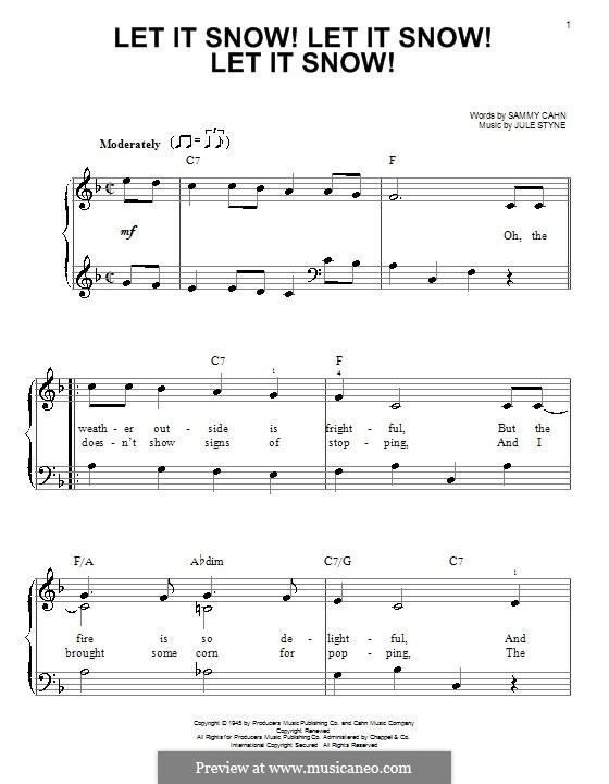 Let It Snow! Let It Snow! Let It Snow!, for Piano: Easy version by Jule Styne