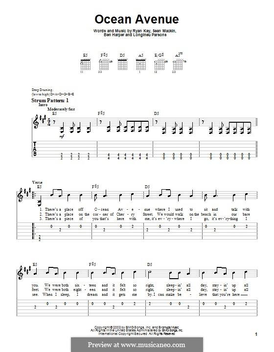 Ocean Avenue (Yellowcard): For guitar (very easy version) by Ben Harper, Longineu Parsons, Ryan Key, Sean Mackin