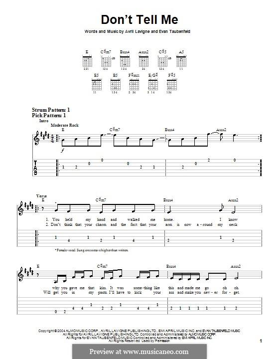 Don't Tell Me (Avril Lavigne): For guitar (very easy version) by Evan Taubenfeld