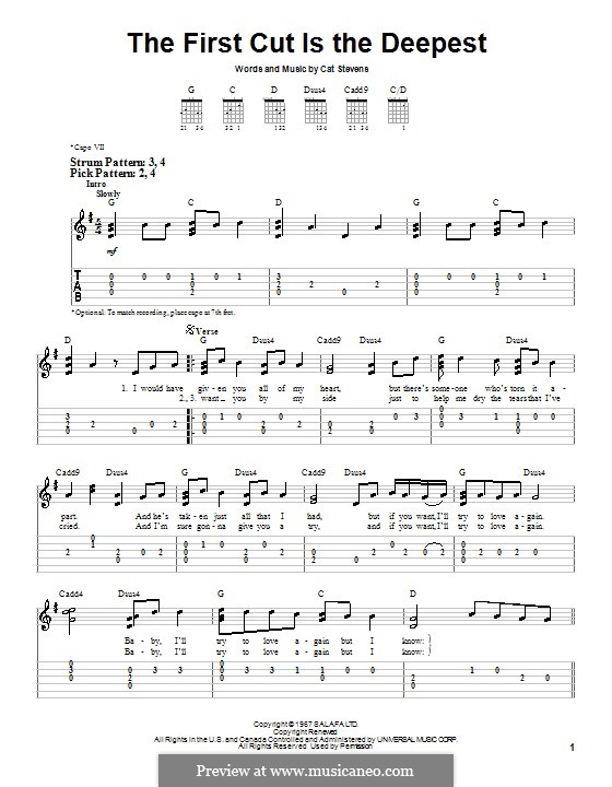 The First Cut Is the Deepest: For guitar (very easy version) by Cat Stevens