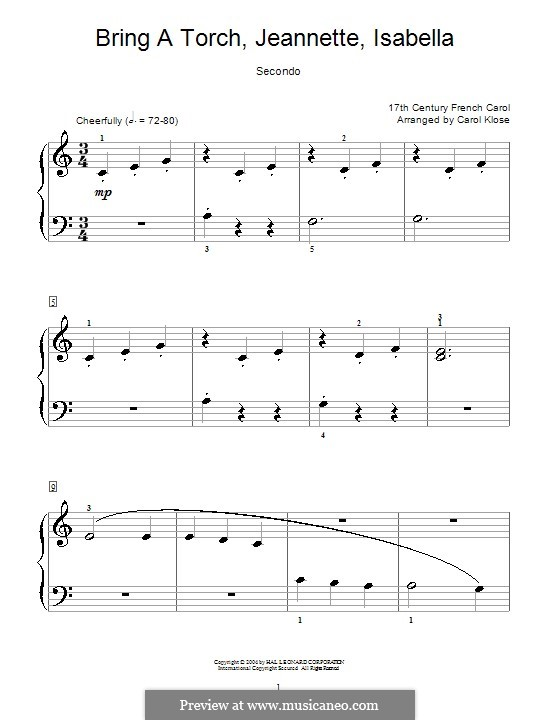 Bring a Torch, Jeannette Isabella: For piano four hands by folklore