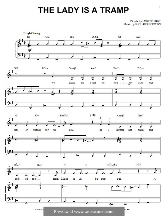 The Lady is a Tramp (Frank Sinatra): For voice and piano or guitar by Richard Rodgers