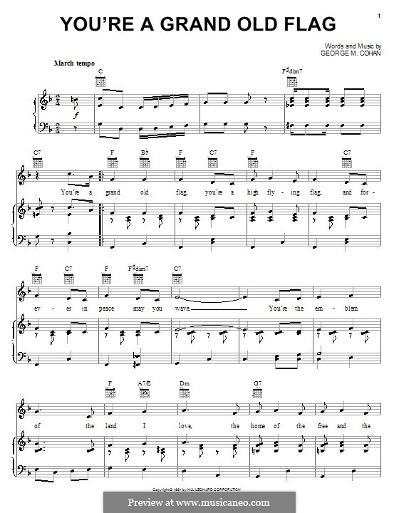 You're a Grand Old Flag: For voice and piano (or guitar) by George Michael Cohan