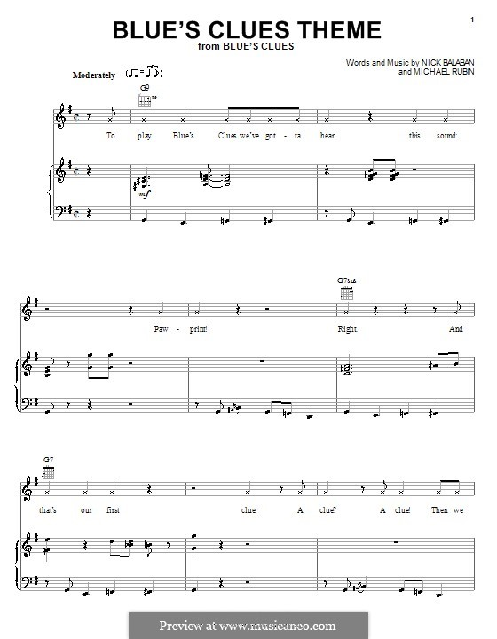 Blue's Clues Theme: For voice and piano (or guitar) by Michael Rubin