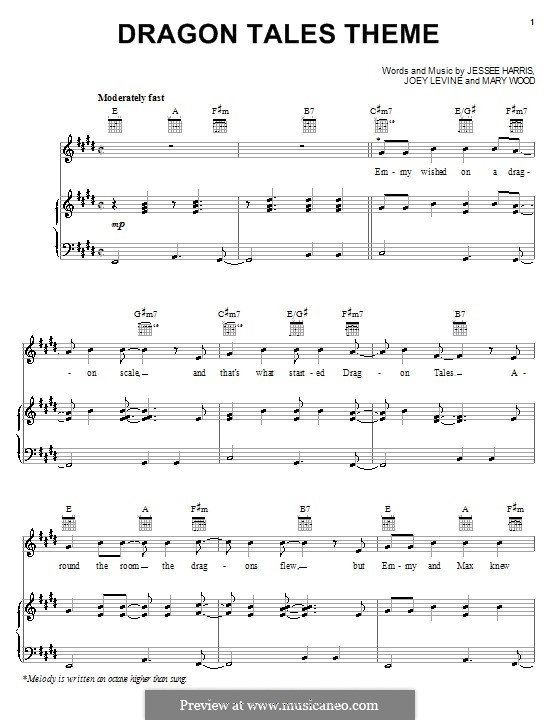 Dragon Tales Theme (Jessee Harris): For voice and piano (or guitar) by Joey Levine, Mary Wood