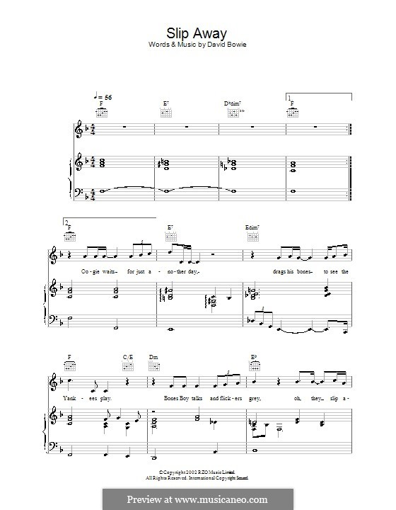 Slip Away by D. Bowie - sheet music on MusicaNeo