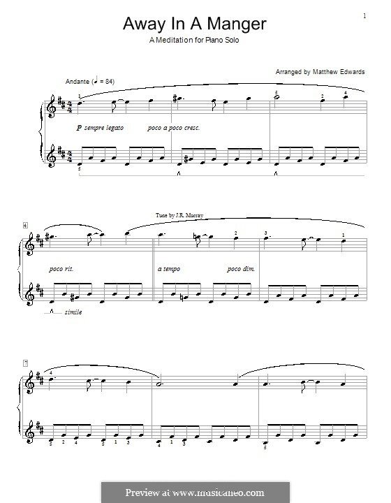 Away in a Manger: For piano (D Major) by folklore