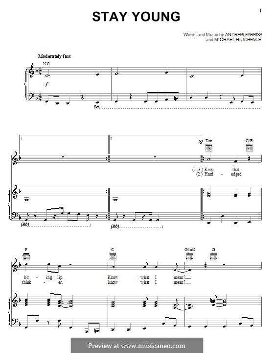 Stay Young (INXS): For voice and piano (or guitar) by Andrew Farriss, Michael Hutchence