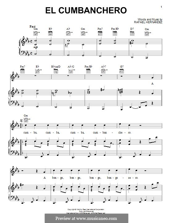 El Cumbanchero: For voice and piano (or guitar) by Rafael Hernandez