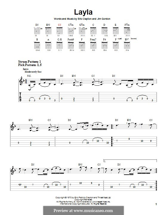 Layla (Derek and The Dominos): For guitar (very easy version) by Jim Gordon