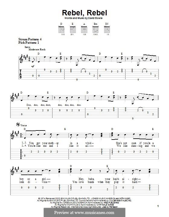 Rebel Rebel: For easy guitar with tabulature by David Bowie