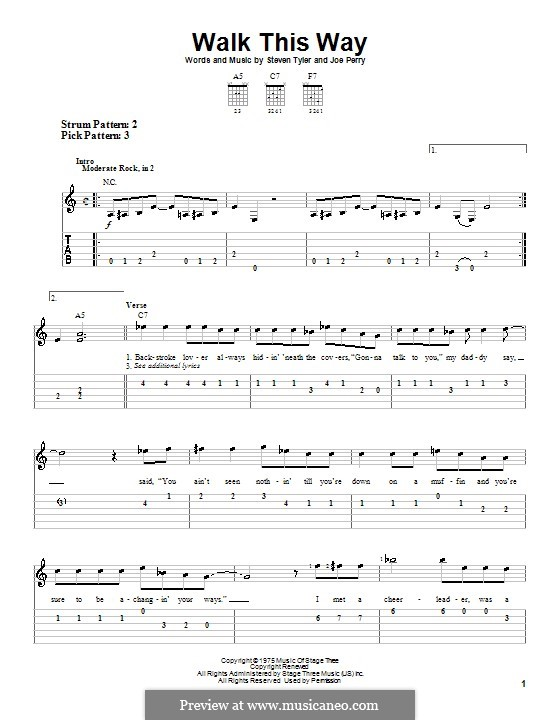 Walk This Way (Aerosmith and Run D.M.C.): For guitar (very easy version) by Joe Perry, Steven Tyler