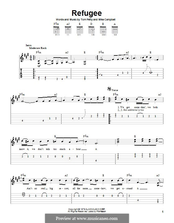 Refugee (Tom Petty and The Heartbreakers): For guitar (very easy version) by Mike Campbell