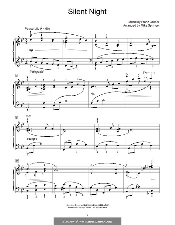 Silent Night, for Piano: Jazzy arrangement by Franz Xaver Gruber