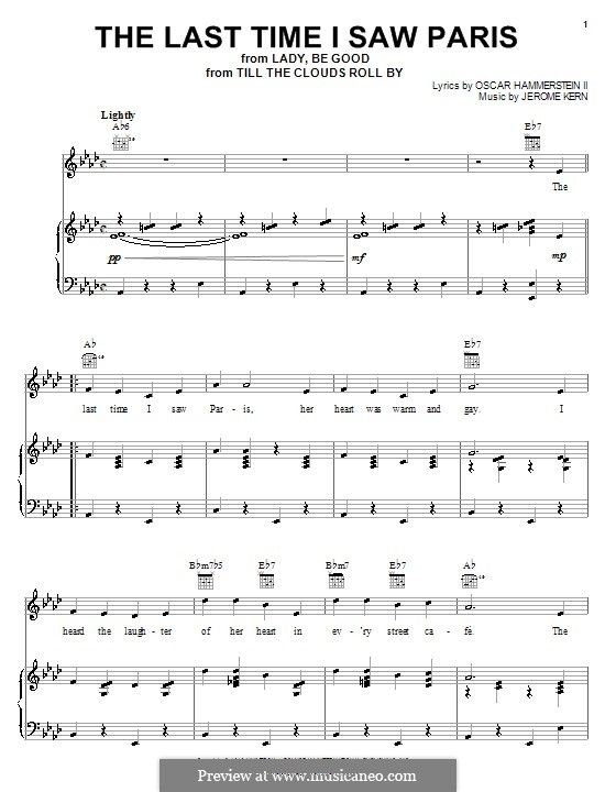 The Last Time I Saw Paris: For voice and piano or guitar (Kate Smith) by Jerome Kern