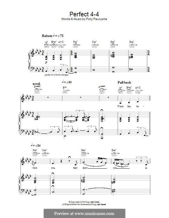Perfect 4-4: For voice and piano (or guitar) by Polly Paulusma