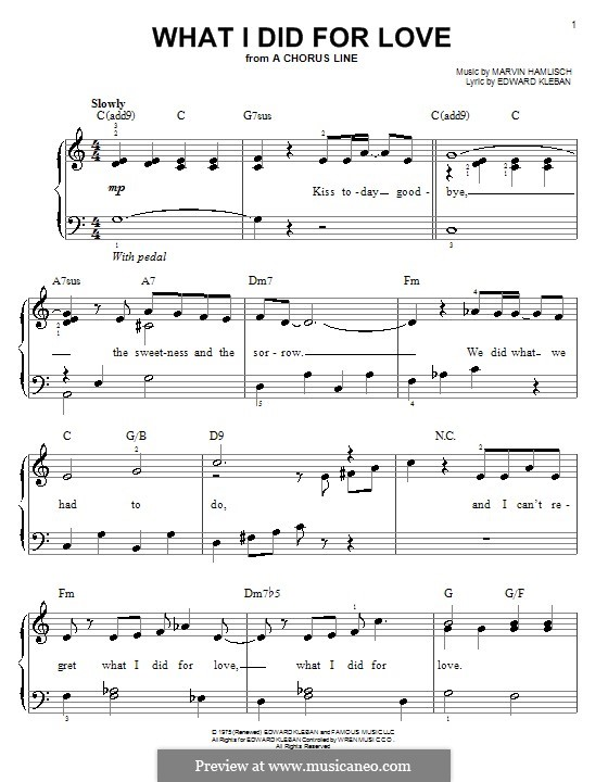 What I Did for Love (Priscilla Lopez): For easy piano by Marvin Hamlisch