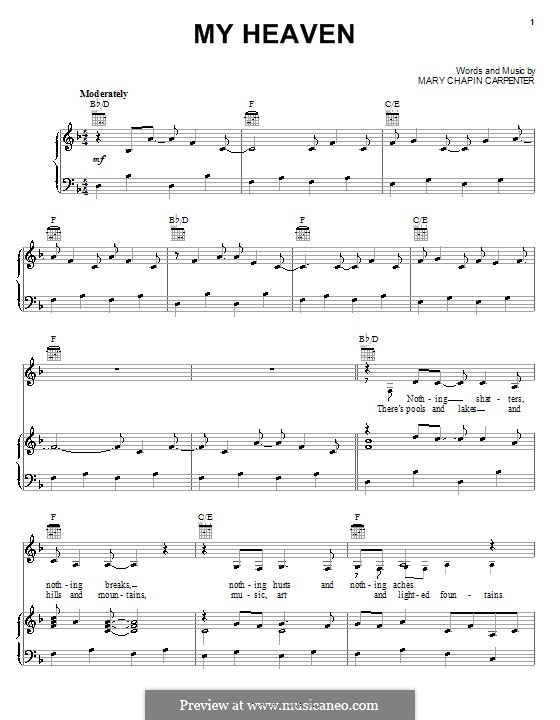 My Heaven: For voice and piano (or guitar) by Mary Chapin Carpenter