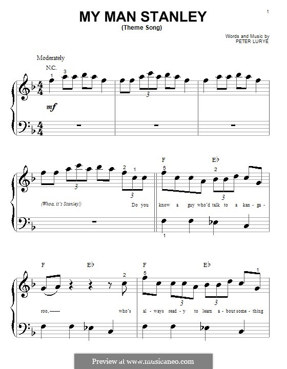 My Man Stanley (Theme Song): For piano (very easy version) by Peter Lurye