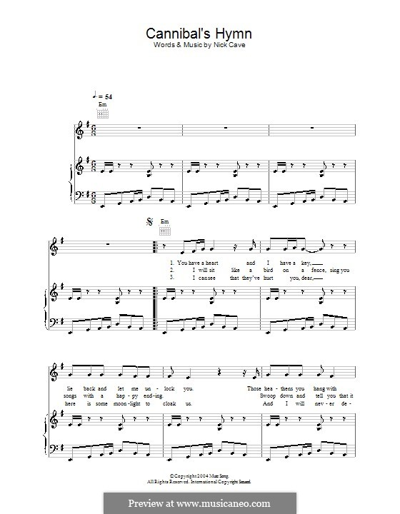 Cannibal's Hymn: For voice and piano (or guitar) by Nick Cave